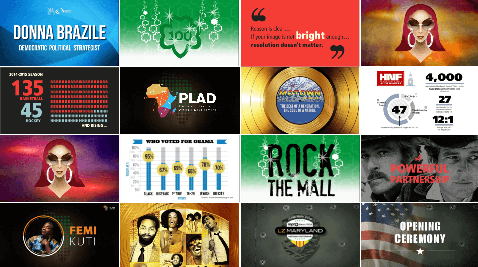 SLIDE DECKS:  I've designed 100s of slide decks for large-screen, event, business presentation, stand-alone marketing and concert backdrop use.